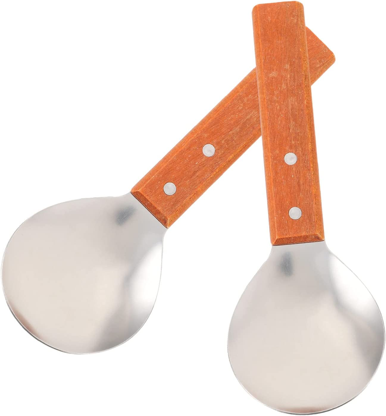 Luxshiny 2pcs Direct store Rice Paddle Spoons with Handle Stainless Long-awaited St Wooden