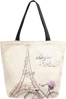 Mnsruu Flower Paris Eiffelturm Fahrrad Lebensmittel, wiederverwendbare Einkaufstasche Frauen große lässige Handtasche Schu...