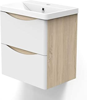 AICA sanitaire Meuble sous Vasque De Salle De Bain Suspendu Blanc et Bois Clair avec Lavabo Espace De Rangement 50cm