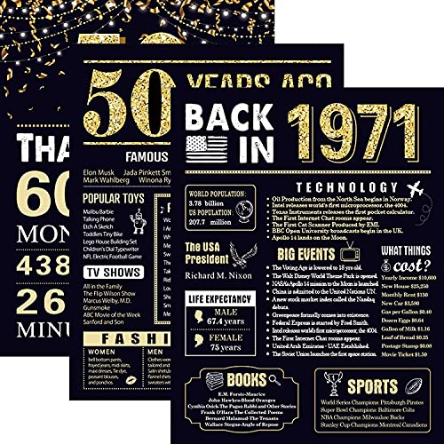 50 Years Ago 50th Birthday Wedding Anniversary Poster 3 Pieces 11 x 14 50s Party Decorations Supplies Large Sign Home Decor for Men and Women (Back in 1971-50 Years)