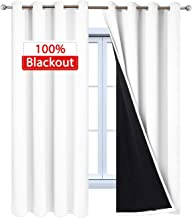 Yakamok Pure White Full Shade Curtain Panels, Heavy Duty Lined Curtains 72 Inches Long, Thermal Insulated Room Darkening Curtains for Bedroom(52