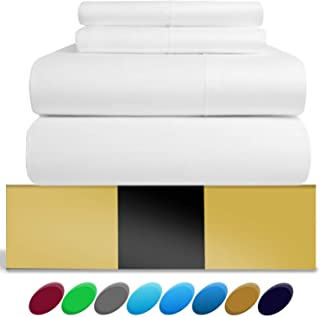 Urban Hut Egyptian Cotton Sheets Set (4 Piece) 800 Thread Count - Bedspread Deep Pocket Premium Quality Bedding Set, Luxury Bed Sheets for Hotel and Home Collection Soft Sateen Weave (King, White)
