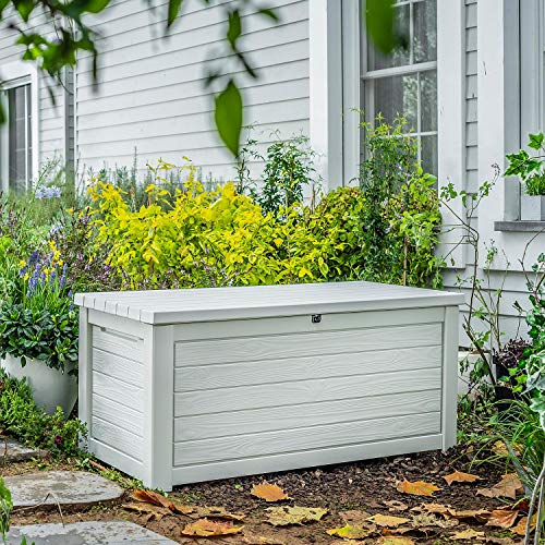 in budget affordable 165 gallons weatherproof resin deck storage container box outdoor terrace terrace furniture, white