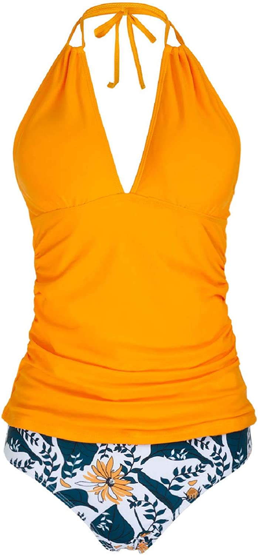 Yonique Womens Halter Tankini Swimsuits V Neck Tankini Tops with Bikini Bottom Two Piece Tummy Control Bathing Suits