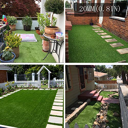 Artificial Grass Artificial Turf Rug 20MM Thick Faux Grass Synthetic Lawn Pet Turf Perfect for...