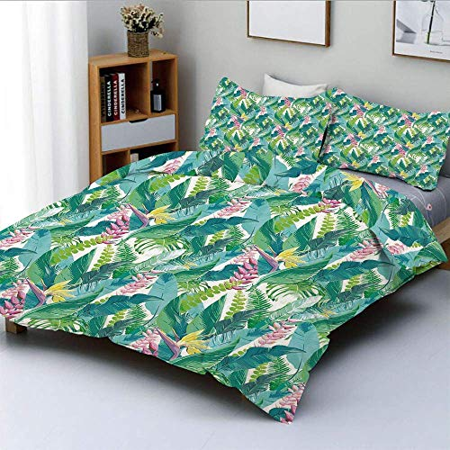 Duvet Cover Set,Exotic Jungles of Hawaii Inspired Fresh Green Leaves Tropical Plants Art Decorative 3 Piece Bedding Set with 2 Pillow Sham,Green Pink White,Best Gift for Kids &