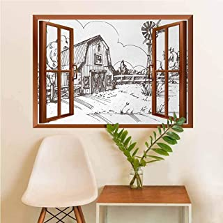 YouXianHome Windmill Window Art Sticker Rustic Barn Farmhouse Hand Drawn Illustration Countryside Rural Meadow Landscaping Decoration Dark Brown and White
