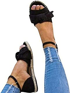 Jeanewpole1 Womens Cute Bow Open Toe Ankle Strap Espadrille Flat Sandals