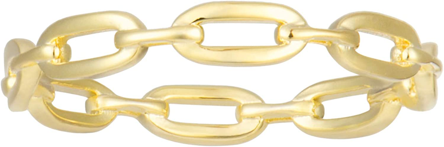 18K Gold Plated Simple Award-winning store safety Link Ring Min Rings Women's