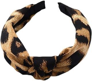 PHILSP Mujer Señoras Vintage Satén Faux Seda Diadema Impresión Digital Leopardo Serpiente Aro con Textura de Animales Gris/Café Torcedura Anudada Diadema Ancha
