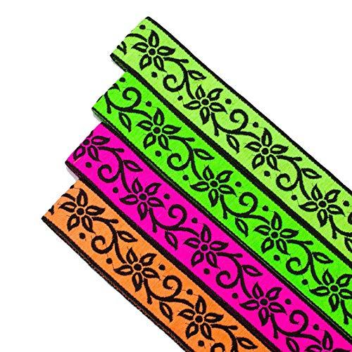 Bande plate Ruban gros grain texturé 4 Couleurs Fluorescentes Neotrims Pois,fleur,lotus Décoration pour Bordure Sari,Salwar Kameez,Artisanat,Décoration Maison,sac,costume.