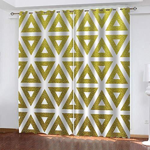 Ageeseso Triángulo geométrico Dorado 3D Ventana Impresa Blackout Cortina de la Cortina Decorativa Tapicería para la Sala de Estar del Dormitorio 300(W) x280(H) cm Oficina Cortina de Ojales