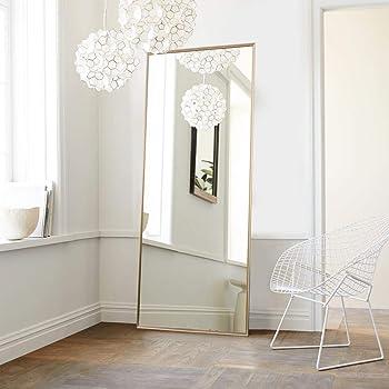 Amazon Com Neutype Full Length Mirror Floor Mirror With Standing Holder Bedroom Locker Room Standing Hanging Mirror Dressing Mirror Wall Mounted Mirror Golden Home Kitchen