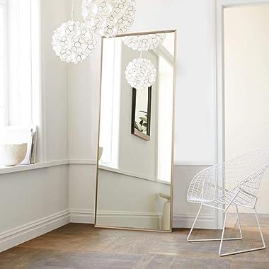 NeuType Full Length Mirror Floor Mirror with Standing Holder Bedroom/Locker Room Standing/Hanging Mirror Dressing Mirror Wall-Mounted Mirror (Golden)