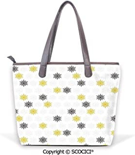 SCOCICI Satchel for Women Abstract Puzzle Patterns in Simple Background Shabby