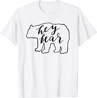 Hey Bear T-Shirt Funny Hiking Camping Outdoors Nature Blk Le