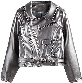 IRISIE Women Metalic Pu Leather Biker Long Sleeve Zipper Short Jacket