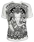 Sure Herren T-Shirt Ganesha Totenkopf Heiliger Elefanten-Gott Indien Goa Psychedelic Festival (Weiss L)