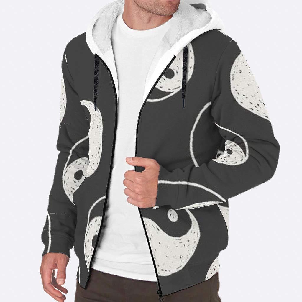 IOVEQG Male Full-Zip Hoodie Jackets Sherpa Lined Jacket Coats