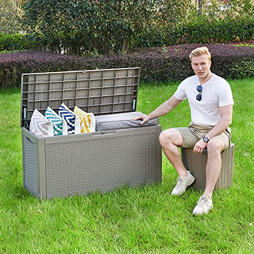 YITAHOME 100 Gallon Large Resin Deck Box Outdoor Storage with Cushion for Patio Furniture,Outdoor Cushions,Garden and Pool Toys(Light Brown)