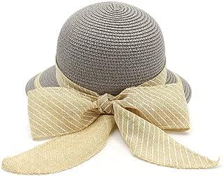Lady's Sun hat Summer Sun Hat Lady Braided Hat Ladies Apparent Style Husk Hat Bowknot Beach Hat Sun hat (Color : Gray, Size : 56-58CM)