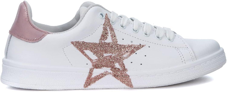 Nira Rubens Woman's Daiquiri White Leather Sneakers with Pink Glitter Star