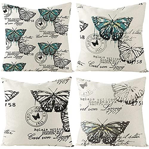 Wxlyzb 4 Piezas Lino Throw Pillow Case Fundas de Cojín Mariposa Azul Oculta Cremallera Salón Oficina Coche Sofá Decoración para Casa 45x45cm