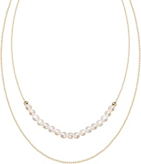 Layered Pearl Necklace Pendant Choker 18K Gold Plated Chain Delicate Christmas Valentine Jewelry for Women Girls