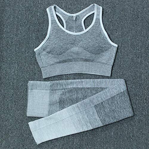 Conjunto De Gimnasio Sin Costuras para Mujer Conjuntos De Yoga Ropa Deportiva Conjuntos De Fitness Conjunto De Leggings De Cintura Alta Sin Costuras De Manga Larga Traje Deportivo M 2Pcs-Grey-A