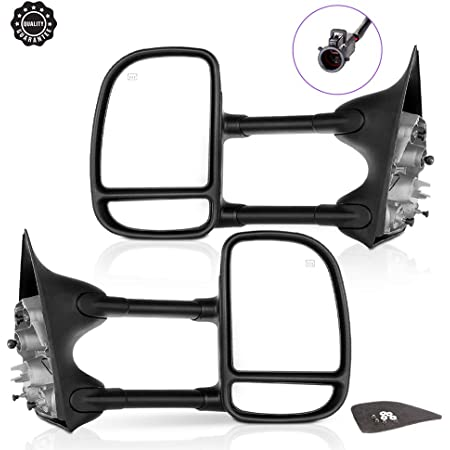 LSAILON Towing Mirrors Fit for 1999-2007 Ford F250 F350 F450 F550 Super Duty Truck 2000-2005 Ford Excursion Tow Mirrors with LH Side and RH Side Manual Operation No Heated No Turn Signal Light Black