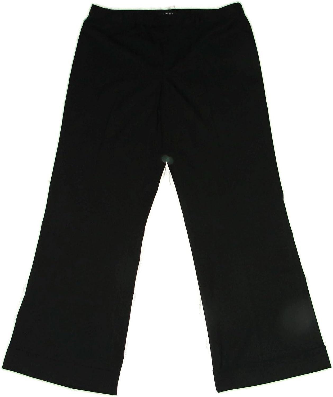 NINE WEST Womens Cuffed Trouser Stretch Pants Savannah Pinstripe SZ 12 Black