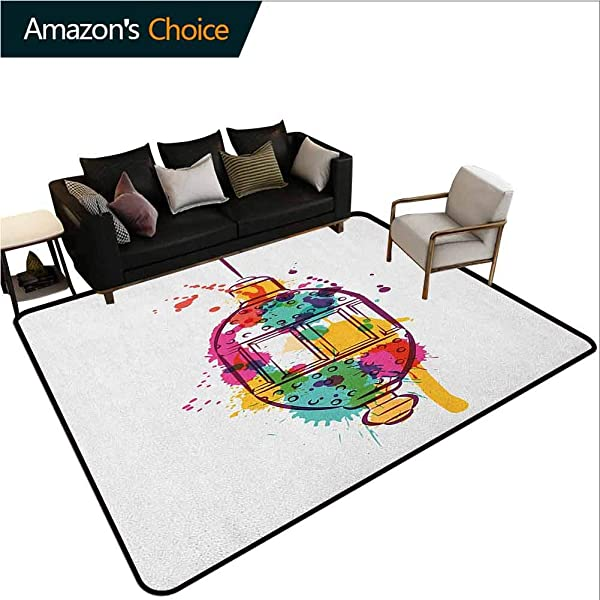 Lantern Animals Area Rug Office Artistic Color Splashes On A Hand Drawn Style Lantern Figure With Abstract Look Durable Carpet Area Rug Living Dinning Room Bedroom Rugs And Carpets 3 X 5