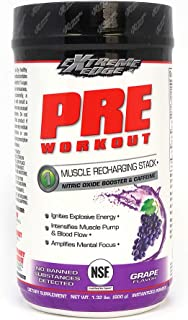 BlueBonnet Nutrition Extreme Edge Pre Workout Powder, Grape, 1.32 Pound, 21.12 Ounce
