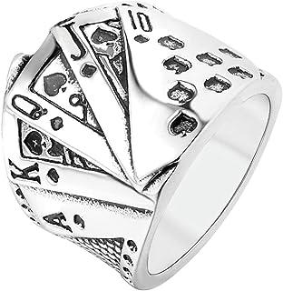 AYDOME Anello in Acciaio per Incisione Anello Uomo Inox Carte da Gioco del Poker A K J 10 Retro Punk Anello Argento