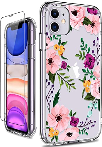 GiiKa iPhone 11 Case with Screen Protector, Clear Heavy Duty Protective Case Floral Girls Women Shockproof Hard PC Ba...