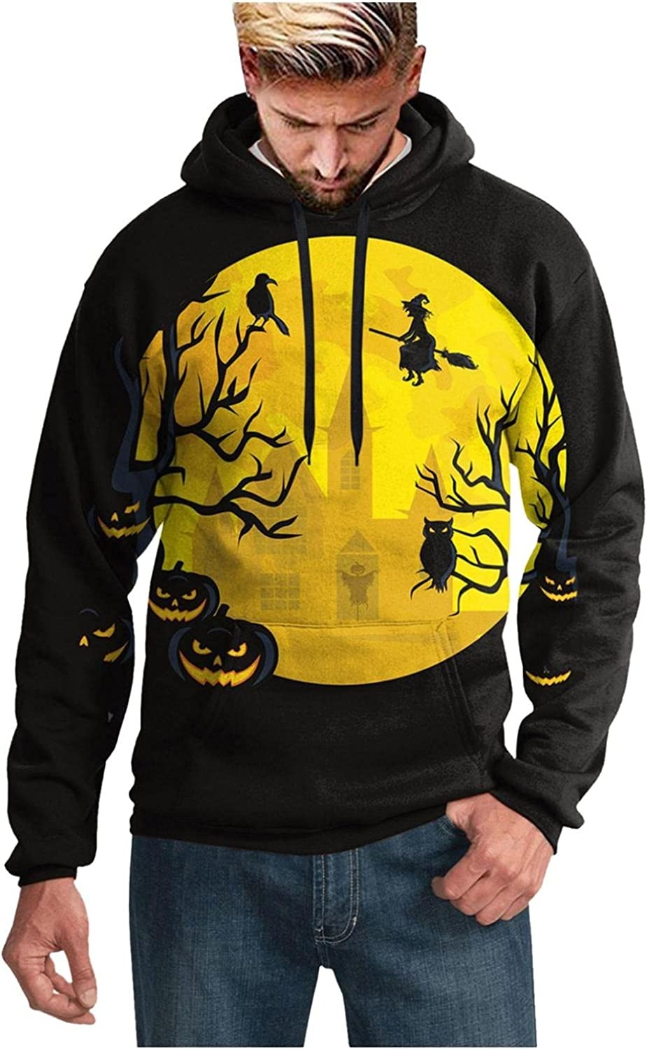 XUNFUN Men's Halloween Hooded Sweatshirts Oversized Casual Loose Fit 3D Printed Graphic Long Sleeve Pullover Hoodies Blouse
