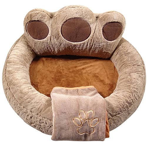 YESBEARS Premium Memory Foam Dog Bed Ultra Soft Microfiber Base (Blanket Included) (Small 27x27x15)