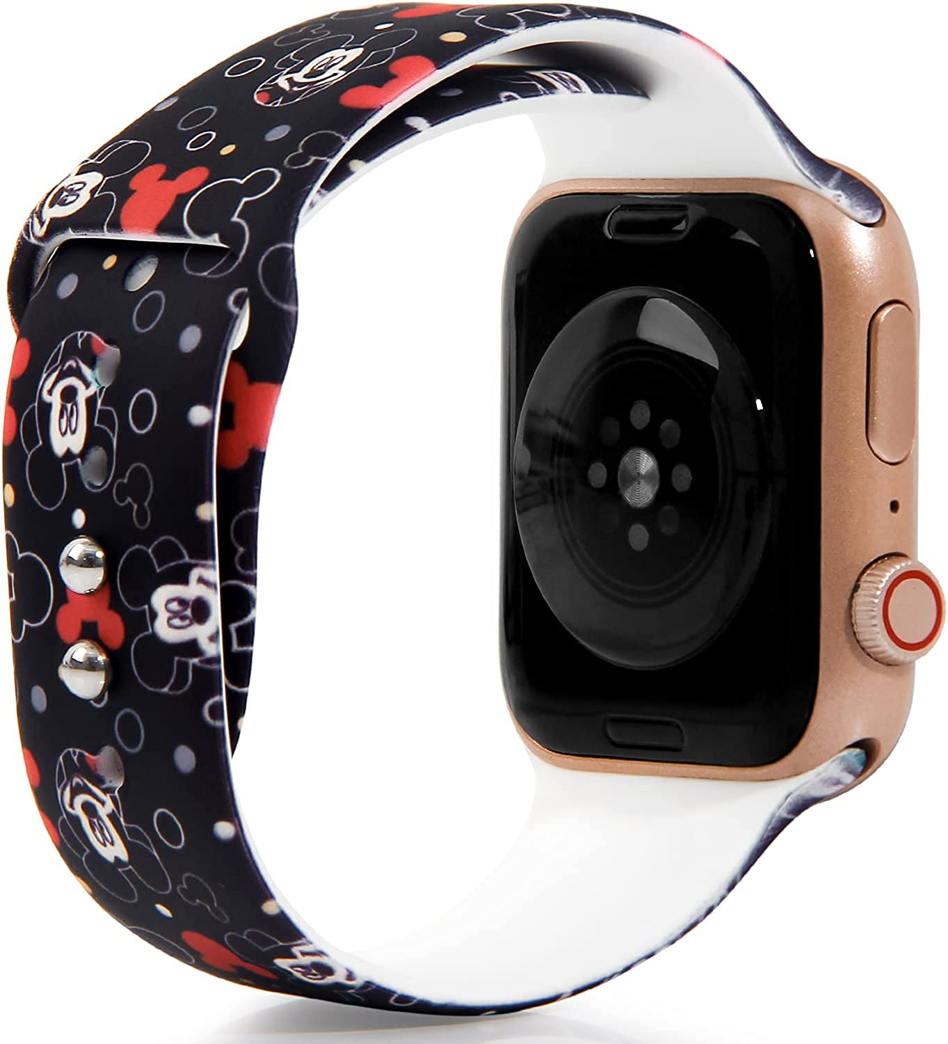 Cartoon Mickey Mouse for Apple Watch Band 44mm 42mm 40mm 38mm, Soft Silicone Replacement Strap Wristbands for iWatch Series SE 6 5 4 3 2 1