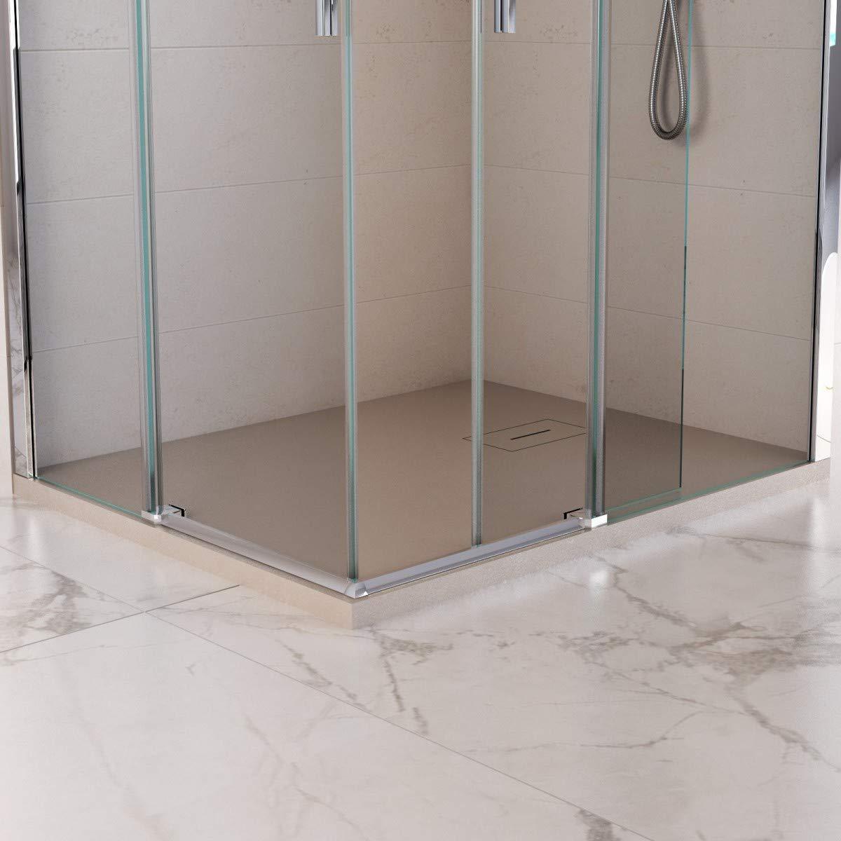 Olimpo - Mampara de Ducha Angular H195, 2 Puertas correderas de Cristal Transparente, 8 mm, Melissa: Amazon.es: Hogar