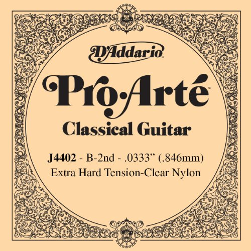 D Addario J4402 Pro-Arte, cuerda individual de nailon para guitarra clásica, tensión extra dura, segunda cuerda