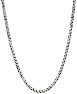 Verona Jewelers Real 925 Sterling Silver 2MM - 5MM Solid Round Box Link Necklace and Bracelet, Chain For Men Women Boys Girls, Rhodium Chain, Extra Durability, 16-30 Inch