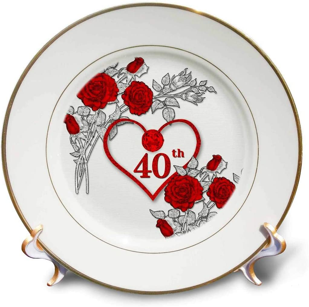 3dRose Red trust Heart and Roses 40Th Ruby Wedding for Anniversary Omaha Mall Or