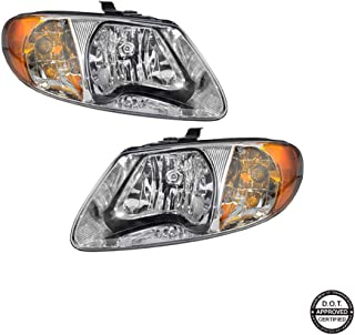 Replacement Headlight Assembly GDGCR01-A2 with Chromed Housing Amber Reflector Clear Lens For 04-01 Chrysler Town&Country 03-01 Chrysler Voyager 07-01 Dodge Caravan 07-01 Dodge Grand Caravan
