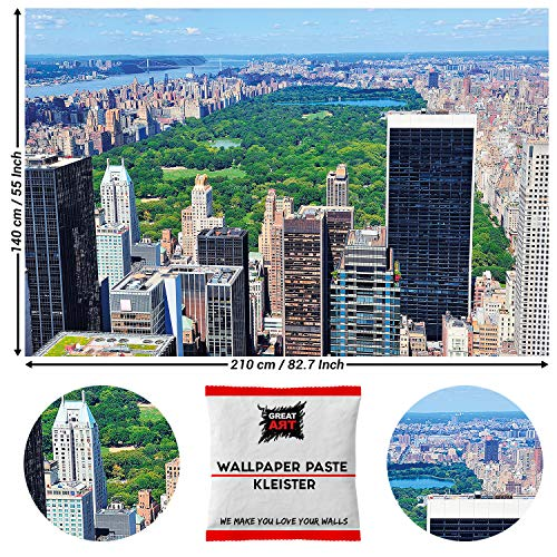 Great Art New York Central Park Fotobehang - Natuur wanddecoratie Manhattan NYC affiche Natuur 210 x 140 cm - 5 Teile + Kleister Central Park