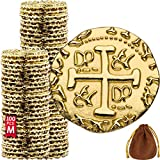 Metal Pirate Coins – 100 Gold Treasure Coin Set, Metal Replica Spanish Doubloons for Board Games, Tokens, Toys, Cosplay – Realistic Money Imitation for Treasure Chest – Medium Size 7/8 inch