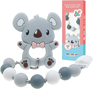 Panny & Mody Baby Teething Relief Toys BPA Free Silicone Koala Bear Teether Freezer Safe with Clip Holder Set for Newborns Boys Girls Baby Shower Gift(Gray)