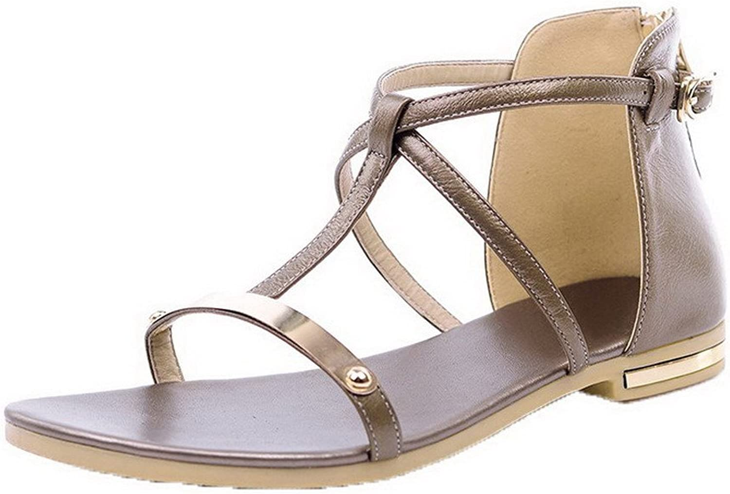 WeiPoot Women's Pu Open Toe Buckle Sandals