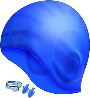 Hurdilen Swim Cap,  Premium Silicone Swimming Cap with Earplugs & Nose Clips, 3D Ergonomic Design Ear Pockets, Flexible Reversible for Adults Women Men
