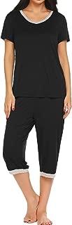 Pajama Set for Women Short Sleeve Tops & Capri Pants Sleepwear Comfy Loungewear S-XXL