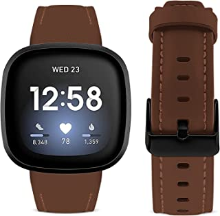 SKYLET Compatible with Fitbit Versa 3 Bands Women Men, Soft Geniune Leather Replacement Straps Wristbands Compatible with ...